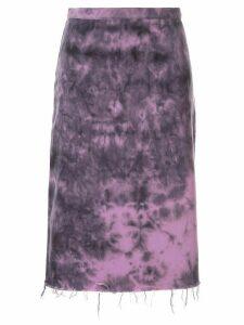 Marques'Almeida tie dye print distressed skirt - Purple