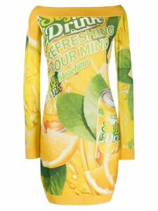 Moschino off shoulder packaging print dress - Yellow
