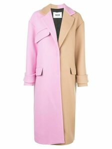 MSGM oversized bi-colour coat - PINK