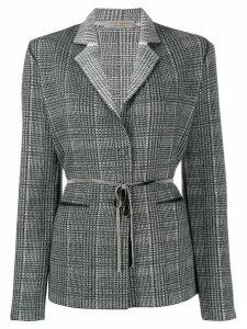 D.Exterior belted knit blazer - Black