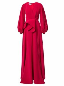 Azzi & Osta V-neck draped waist gown - Red