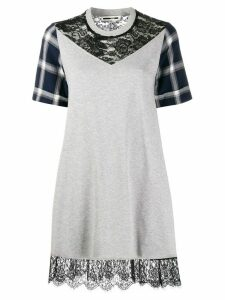 McQ Alexander McQueen contrast lace panel mini dress - Grey