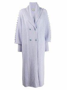 Temperley London bobble embellished long cardi-coat - PURPLE