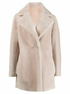 Blancha faux fur single-breasted coat - Pink