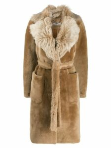 Desa 1972 oversized collar fur coat - Brown