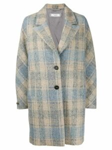 Peserico check-print single-breasted coat - Blue