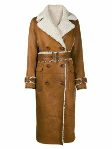 Urbancode belted leather effect coat - Brown