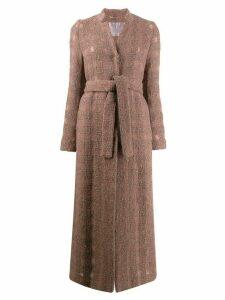 Herno metallic thread check coat - Neutrals