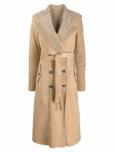 Desa 1972 double breasted shearling coat - Brown