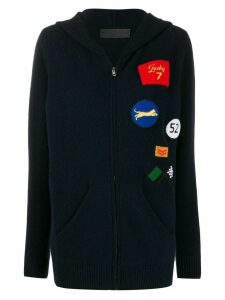 The Elder Statesman multi patches knitted jacket - Blue