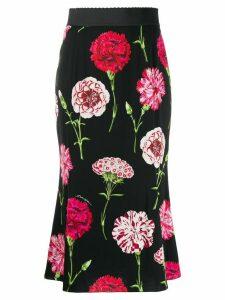 Dolce & Gabbana carnation print charmeuse skirt - Black