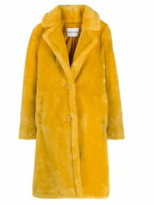 STAND STUDIO faux-shearling single-breasted coat - Yellow