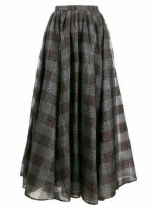 Erdem silk check flared midi skirt - Grey