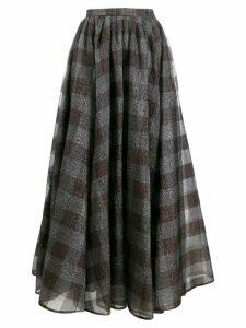 Erdem silk check flared midi skirt - Grey