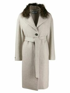 Peserico belted single-breasted coat - NEUTRALS