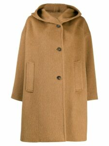 Alberto Biani hooded single-breasted coat - Brown