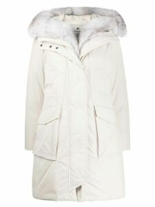 Woolrich fox fur hooded coat - White