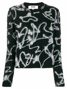 MSGM heart print cable knit jumper - Black