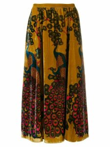 Mes Demoiselles high waisted devore skirt - Yellow