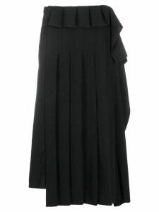 Yohji Yamamoto asymmetric pleated skirt - Black