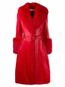 Saks Potts belted leather midi coat - Red