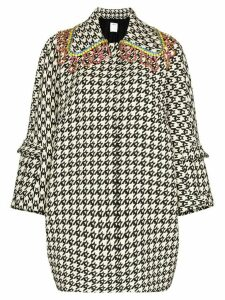 Area crystal-embellished houndstooth pea coat - White