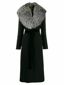 Dolce & Gabbana fur collar belted coat - Black