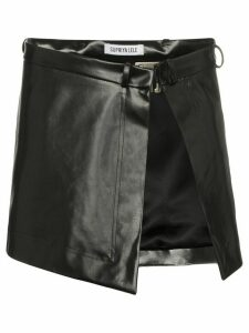 Supriya Lele asymmetric faux-trimmed rubber apron skirt - Black