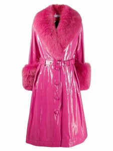 Saks Potts belted leather midi coat - Pink