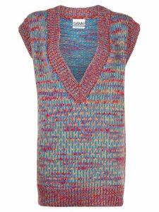 Ganni v-neck knitted vest - Blue