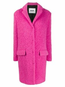 MSGM textured single breasted coat - Pink