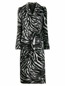 Tagliatore zebra-print belted coat - Grey