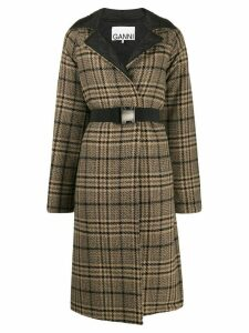 Ganni check quilted coat - Neutrals
