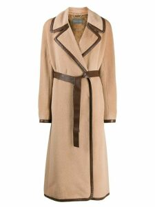 Alberta Ferretti belted double-breasted coat - Neutrals