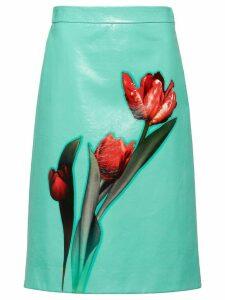 Prada tulip print A-line skirt - Blue