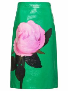Prada rose print midi skirt - Green