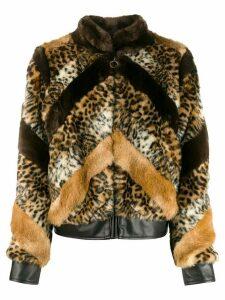 Twin-Set animal faux-fur jacket - Brown