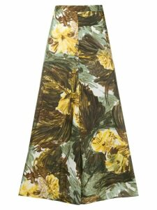 Erika Cavallini Fantasia-print silk skirt - Green