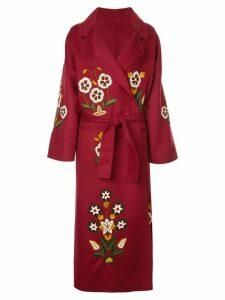Oscar de la Renta embroidered floral belted coat