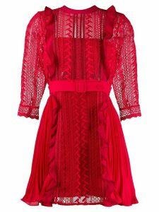 Self-Portrait lace detail belted mini dress - Red