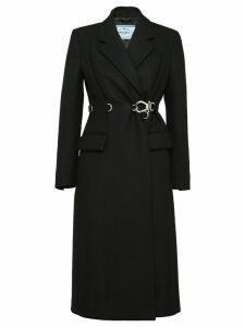 Prada double-breasted clip coat - Black