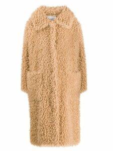 Stand Studio long faux-shearling coat - NEUTRALS
