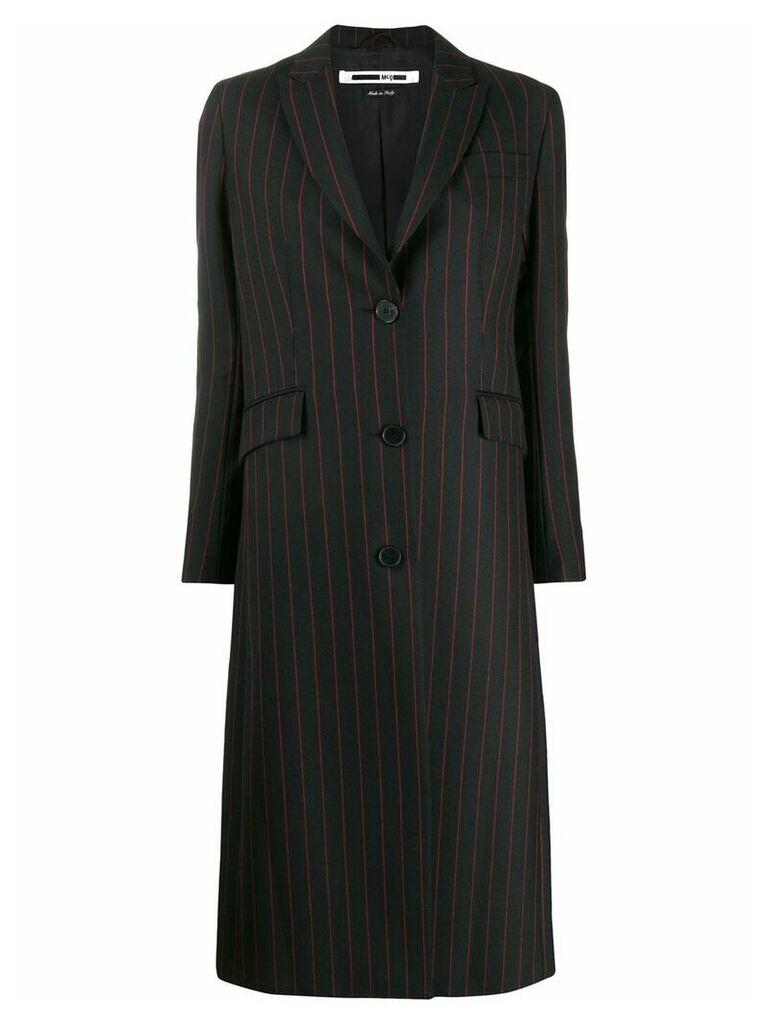 McQ Alexander McQueen striped midi coat - Black