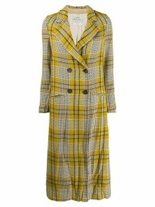 Forte Forte checked mid length coat - Yellow