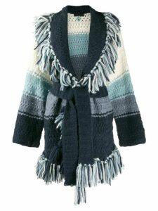 Alanui chunky knit fringed cardigan - Blue