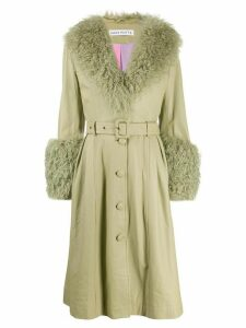 Saks Potts Foxy long belted coat - Green