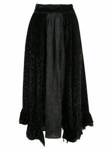 Renli Su floral velvet skirt - Black