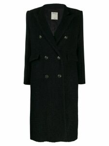 Sandro Paris tweed double-breasted coat - Black