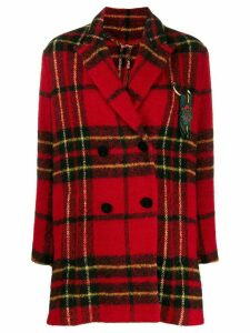 Etro checked double-breasted coat - Red