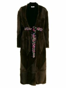 Attico long belted coat - Brown
